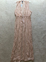 Windsor Lace Beige Blush Pink Pool Beach Long Cover up Tie Sleeveless Size Large $39.00