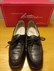 Women#x27;s Paradise Kittens Black Leather Lace Ups Size 8.5 Extra Narrow 4A $24.95