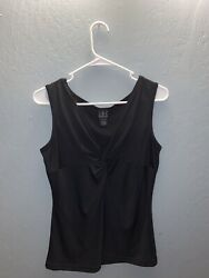INC INTERNATIONAL CONCEPTS Black Sleeveless Tie Front Top Blouse Size L