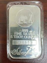 5 Troy Oz Silvertowne .999 Fine Silver Bar - SEALED - Free Shipping. $175.00