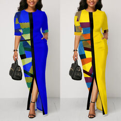 Womens Patchwork Split Long Maxi Dresses Casual Work Office Party Cocktail Dress $16.59