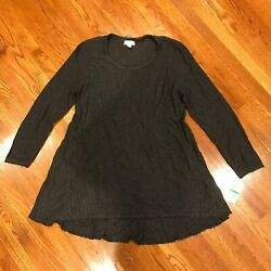 Style amp; Co. Womens Gray Ribbed Hi Low Everyday Tunic Top Sweater L $13.95