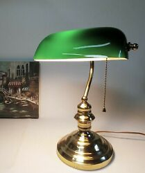 "Brass Green Glass Center Art Deco Bankers Library Office Desk Lamp 15"" Tall $46.24"