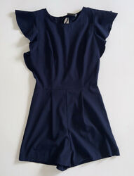 Runway Story Blue Dress Size Small Short Sleeve Back Tie String  Flared