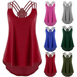 Womens Summer Off Shoulder Strap T Shirt Sleeveless Plus Size Tank Tops Blouse $12.74