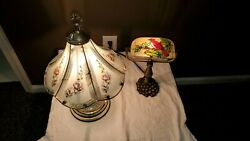 LOT (2) DESK TIFFANY STYLE AND TOUCH VICTORIAN STYLE LAMPS FOR STUDENTS. $50.25