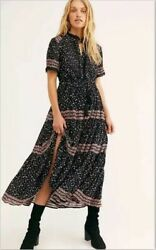 NEW Free People Rare Feeling Maxi Dress S Black Multi Floral Long Drawstring NWT