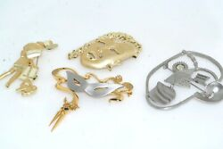 4pc Whimsical Costume Jewelry Pin Lot Gold Silver Tone Metal Mask Face Shopper $12.50