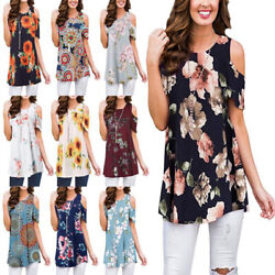 Womens Summer Tunic Tops Short Sleeve Blouse Floral Boho Cold Shoulder T Shirt $14.87