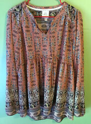 amazing KNOX ROSE 2X TOP peasant blouse DUSTY ROSE PINK blue BOHO shirt  $9.30