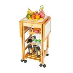 Kitchen Island Cart Trolley Rolling Storage Wood Dining Table with Drawers