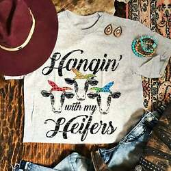 Hangin' With My Heifers Graphic Tee Women#x27;s Funny Unisex Fit Farm Cow T Shirt $12.99