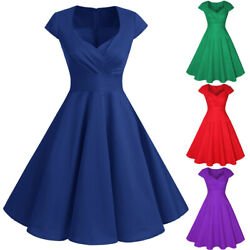 Women Vintage Cap Sleeve 50s Rockabilly Pinup Swing Party Cocktail Retro Dresses $12.99