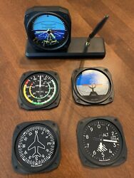 Aircraft Instruments Desk Clock And Coasters $5.00