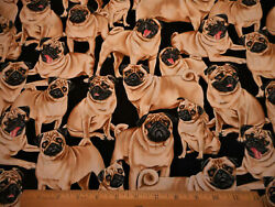 Dog Fabric By The Half-Yard Realistic Pugs on Black Premium Cotton TT $5.99