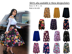 Midi skirt Vintage Floral high waist Full Circle A Lineumbrella skater skirt $17.99