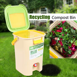 21L Compost Bin Indoor Composter Garden Backyard Food Waste Storage with Lid USA $52.00