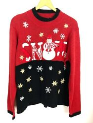 Basic Editions Holiday Women Sz XL Embellished Christmas Holiday Sweater C48 $14.99