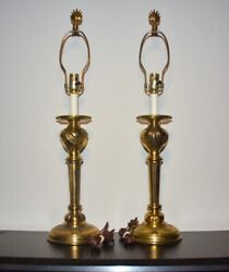 Pair of Vintage STIFFEL Brass Candlestick Table Lamps 30quot; tall Hollywood Regency $149.00