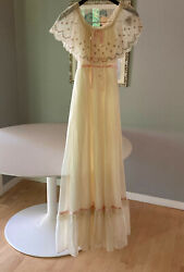 Gunne Sax dress size 7 maxi length ivory with pink detail plus pink sox new $190.00