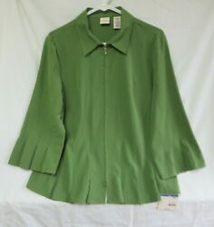 COVINGTON SEARS MISSES NOVELTY Size Large Green Blouse Zip Up Polyester Spandex $26.00
