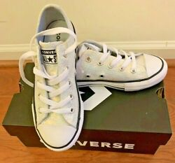 Converse All Star Girls White Iridescent Size 13 Youth CTAS Ox Low Top Sneakers $29.99