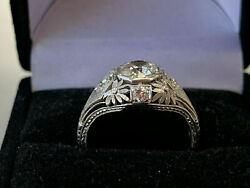 14K White Gold Over Art Nouveau Engagement Engraved Inspire Ring 2.1 Ct Diamond $135.07