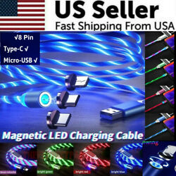 Magnetic LED Light Up USB Phone light up Charger Cord For iPhone Type C Micro US $6.39