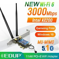 3000Mbps WiFi 6 PCI E Network Card Dual band 2.4G 5GHz Wireless Intel AX 200 $31.00