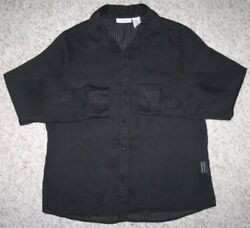 Jaclyn Smith Black Dress Shirt Women#x27;s Woman#x27;s 8 Eight Button Up Solid Polyester