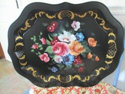 Extra Large Mint Hand Painted Pink Blue Apricot Roses Vintage Tole Mantle Tray $107.10
