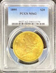 1895 • $20 American Gold Double Eagle Liberty Head • MS62 PCGS • LUSTROUS Coin $2495.00