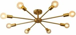 Vintage Modern Ceiling Light Brass 8 Light Sputnik Ceiling Chandelier on sale $117.00