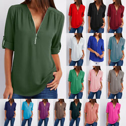Summer Women V Neck Zipper T Shirt Loose Casual Blouse Short Sleeve Tunic Tops $7.99