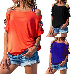Women Summer Cold Shoulder Short Sleeve Loose T Shirt Casual Tunic Tops Blouse $14.87