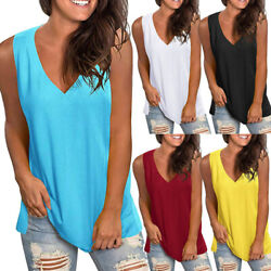 Summer Women Casual Sleeveless T Shirt V Neck Tunic Tank Tops Loose Solid Blouse $13.80