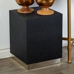 Modern Cube Stainless Steel amp; Wood Contemporary Accent Side Table Silver Black $154.97