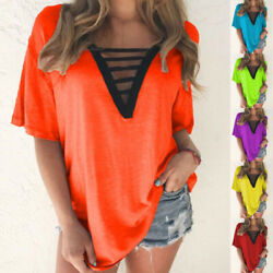 Women Summer V Neck T Shirt Casual Solid Short Sleeve Blouse Loose Hollow Tops $13.80