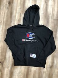 CHAMPION SPORTSWEAR 100 YEARS 2019 SPELLOUT PATCH LOGO HOODIE SWEATSHIRT LARGE $35.00
