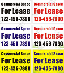 36quot; X 48quot; Custom Commercial Space For Lease Banner Sign w Your Phone Number