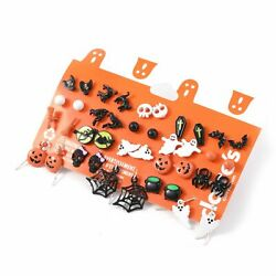 20 Pairs Christmas Halloween Stud Earring Set Women Girl Bat Pumpkin Lamp Spider $12.54