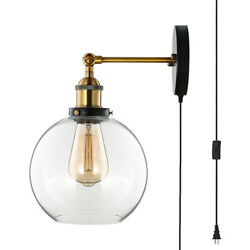 Farmhouse Wall Sconce Glass Globe Wall Mount Light Sconce Lighting Wall Plug In $39.99
