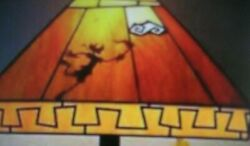 Vtg DISNEY GOOFY Stained Slag Glass LAMP SHADE 13quot; Sq Amber Gold OLYMPIC TORCH $375.00