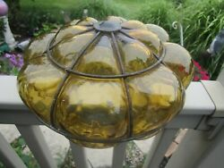 Vintage Amber Bubble Glass Ceiling Light Shade Caged Wired $32.00