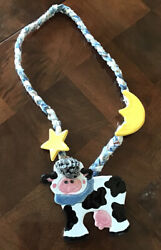 """Vintage Novelty """"Cow Jumped Over The Moon"""" Necklace Hand Made $13.00"""