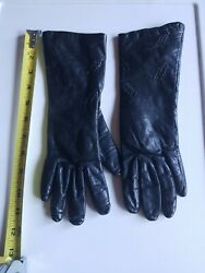 VINTAGE Good used womans leather Black LONG gloves Medium petite MADE IN JAPAN $7.99