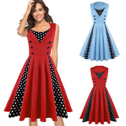 Womens Sleeveless Polka Dot Retro 50s Vintage Style Cocktail Party Swing Dresses $15.00