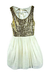 B Darlin Prom Dress Embellished Party Juniors Girls 9 10 Gold Sparkly Cute #2176 $34.99