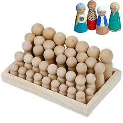 Wooden Peg Dolls Unfinished People – 40 Pack with Storage Case in Assorted Sizes $15.79