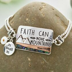 Inspirational Abalone Accent Bracelet Faith Can Move Mountains $10.98